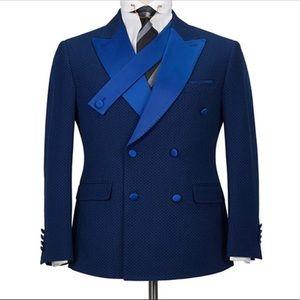 Men's 2 Piece Slim Fit blue double breasted Suit
